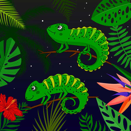 Cute cartoon chameleon with tropical leaves and flowers. Vector illustration, hand-drawn flat style.