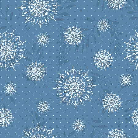 Seamless pattern with white snowflakes and branch. Print for winter holiday and wrapping papper. Vectores