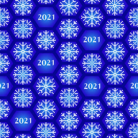 Seamless new year 2021 pattern. Funny christmas background with snowflakes for wrapping. Print for fabric and wrapping papper. Vectores