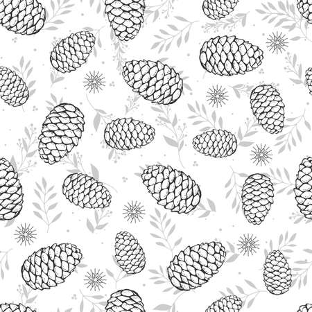 Cones and Christmas tree. Seamless botanical hand drawn vector background. Great for greeting cards, backgrounds, holiday decor and fabric.