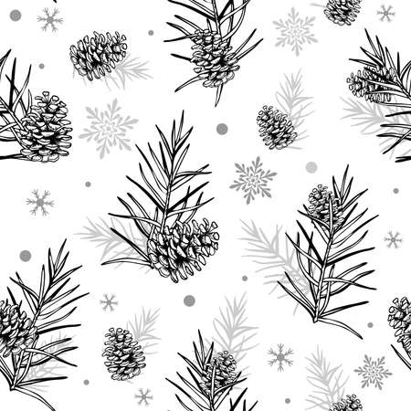 Cones and Christmas tree. Seamless botanical hand drawn vector background. Ideal for greeting cards, backgrounds, holiday decor, fabric and phone case.