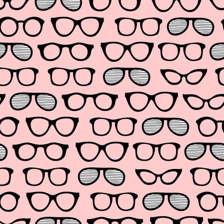 Seamless summer pattern with sunglasses for art, design and advertising. Cartoon colorful sunglasses on pink background. Summer vacation design.