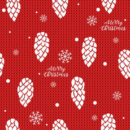 Cones and snowflakes on knitted background. Seamless hand drawn vector background. Ideal for greeting cards, backgrounds, holiday decor, fabric and phone case.