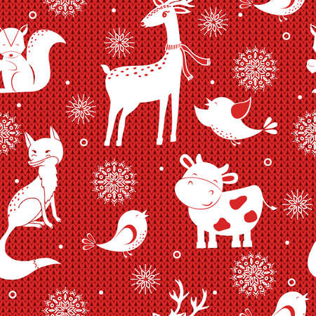Winter seamless vector pattern with snowflakes, deer, fox, bird and cow on knitted background. Can be used for wallpaper, pattern fills, surface textures, fabric prints.