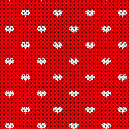 Seamless knitted pattern witn white hearts. Print for wrapping papper, fabric and web.
