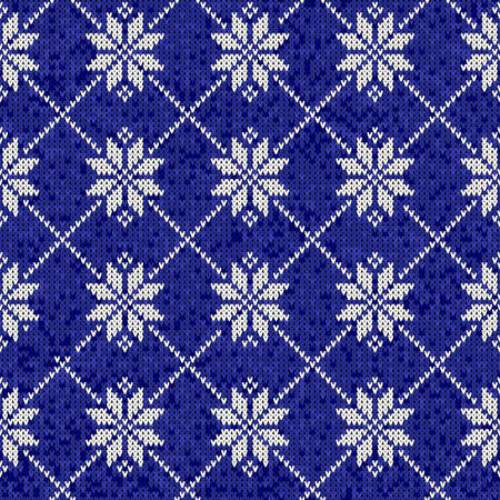 Christmas knitting seamless pattern with nordic motifs in blue and white color. Ideal for winter fabric. Иллюстрация