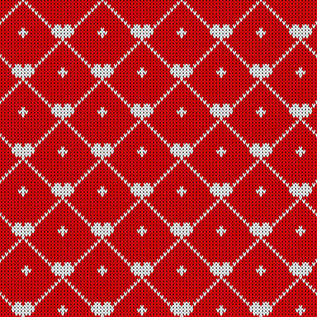 Christmas seamless pattern with knitted hearts. Print for fabric, kitchen textil and holiday decor.