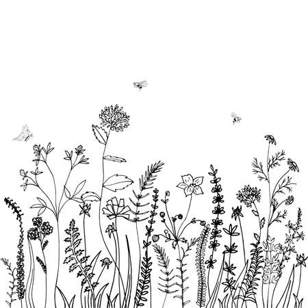 Black silhouettes of grass, spikes, herbs and insekt isolated on white background. Hand drawn sketch flowers. Can be used for printing on summer textiles and phone case. Vektorgrafik