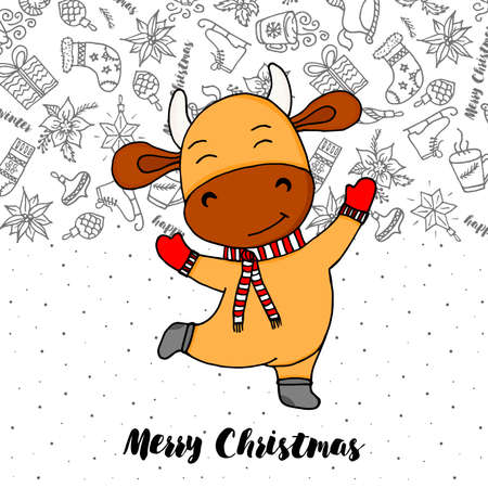 Cute bull or cow with Christmas scarf. Ox is symbol of New year 2021 according to the Chinese or Eastern calendar. Vector stock flat illustration. Card for Merry Christmas and Happy New Year. Illustration