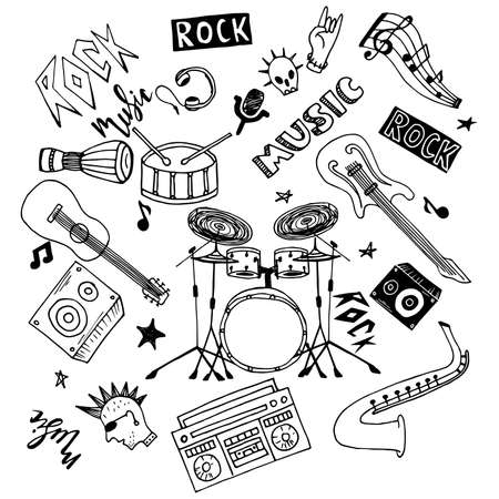 Set of hand drawn rock and pop music theme isolated on white background, doodle set of Musical Instruments theme.  イラスト・ベクター素材