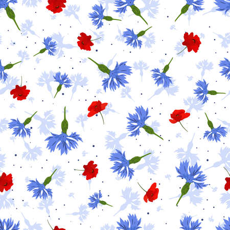 Vector seamless pattern with blue cornflowers and red poppies on white background.