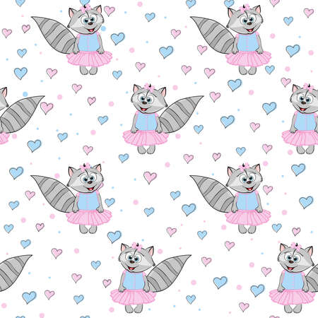 Cartoon raccoon in a dress with hearts. Seamless funny pattern. Print for kids clothes and element design.