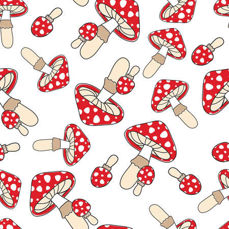 Red toadstools on a white background. Seamless pattern for element design, fabric, wrapping paper.