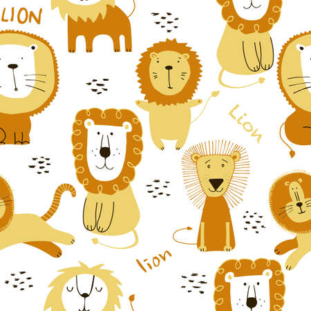 Seamless funny lions drawing. Print for fabric, graphic design. Collection cute lions illustration for kids.