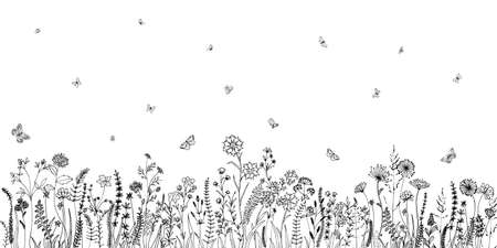 Wildflowers and grasses with various insects. Fashion sketch for various design ideas. Monochrom print.