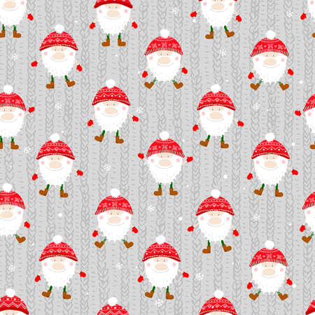 Seamless vector pattern with cute gnomes. For wrapping paper, textiles, fabric and design idea for christmas.