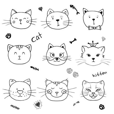 Set head funny kittens. Element design for fabric, wrapping paper and children's accessories. Stock Illustratie