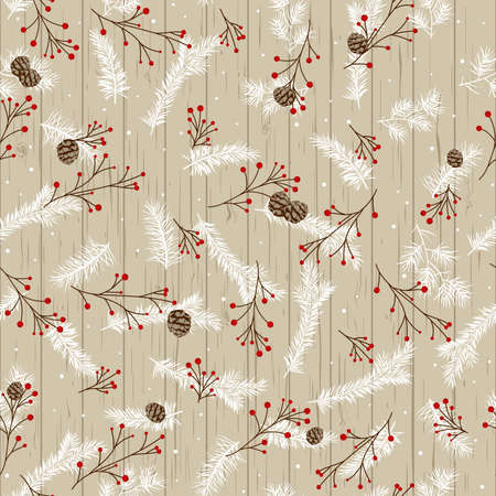Christmas design with pine branches and cones on the background of wooden boards. Rowan branches with snowflakes.
