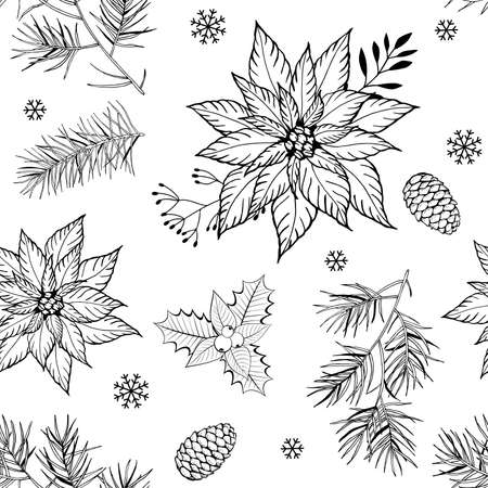 Christmas seamless pattern with hand drawn branches, cones, poinsettia flowers and snowflakes on white background. Ilustrace