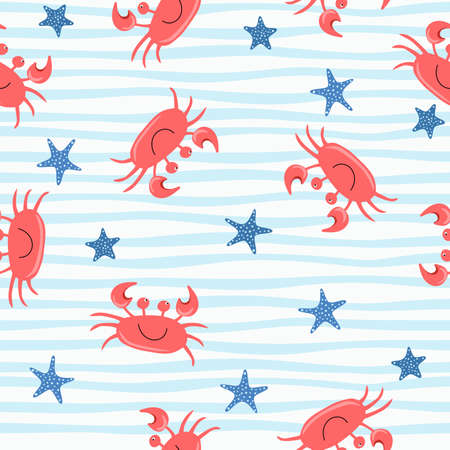 Seamless cute crab pattern, cartoon hand drawn animal doodles vector illustration background.