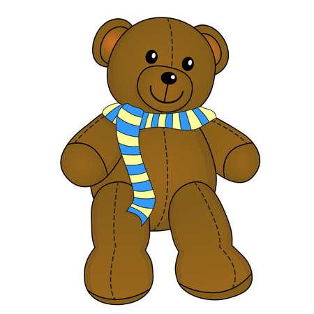 Cute teddy bear with scarf Vektoros illusztráció