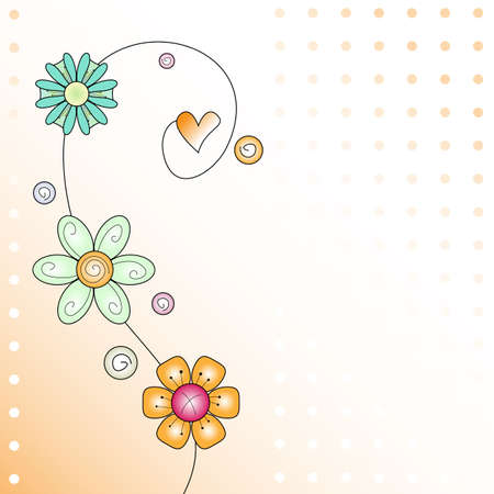 withe background: Background withe flower and heart curl Illustration