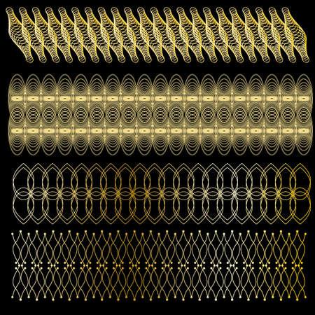 Golden trim or border collection over black background