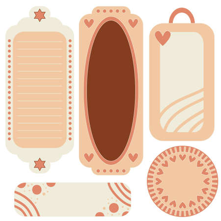 bookmarks: Romanticpink and beige tags, labels or bookmarks with hearts and dots isolated over white background