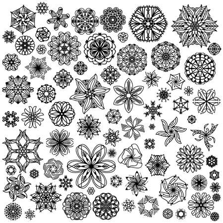 isolated over white: Black ornament collection isolated over white background Illustration