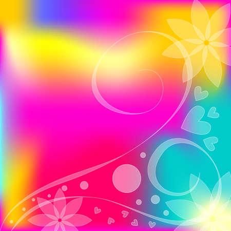 corazones azules: Color de fondo con corazones, flores, rizos y puntos