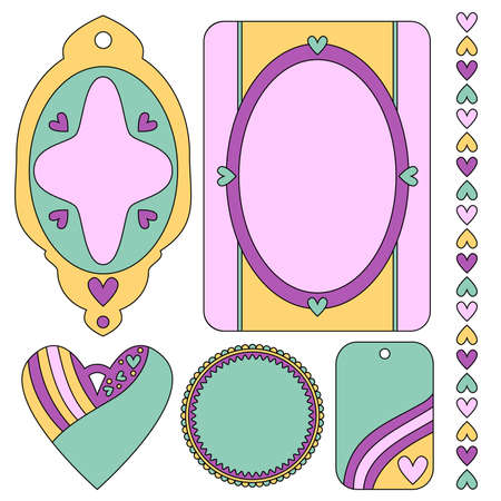 trim: Romantic tags, labels, heart and trim collection Illustration
