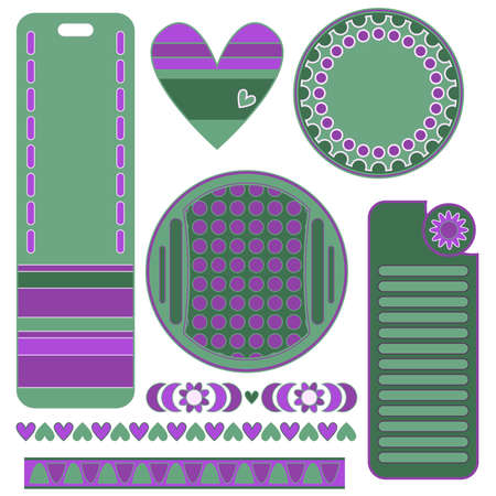 trims: Green and lilac graphics set with tags, labels, heart and trims