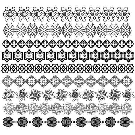 white trim: Ornamental trim collection isolated over white background Illustration