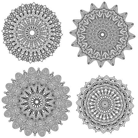 backgound: Black Mandala collection isolated over white backgound Stock Photo