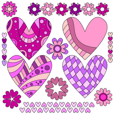 Pink and lilac heart collection