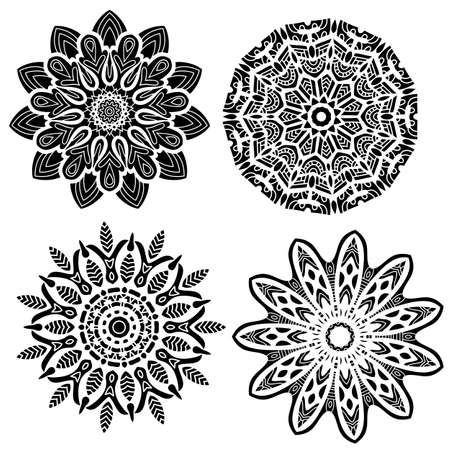 black and white: Black ornament collection isolated over white background Illustration