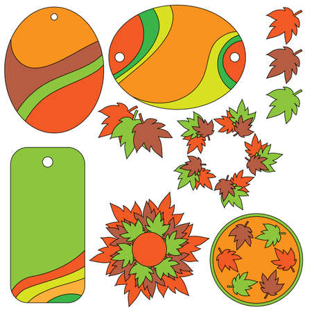autumn leafs: Autumn leafs and tags Illustration