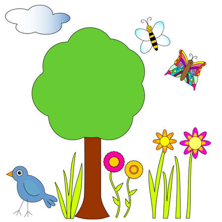 Tree, bird, butterfly, bee and flowers Illustration