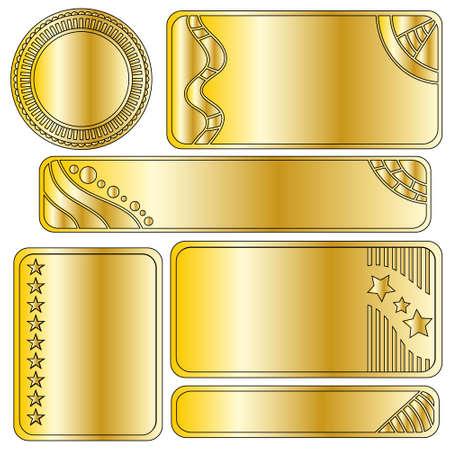Golden festive banner or button collection
