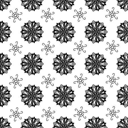Tiling texture with black ornamentsPattern Vektorové ilustrace