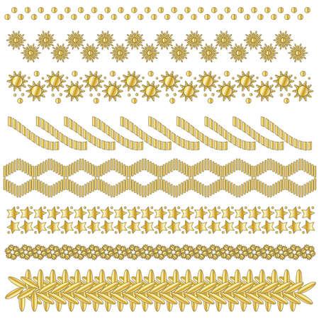 Festive golden trim or border collection Illusztráció