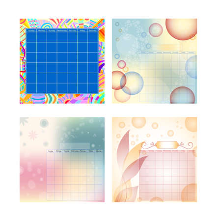 Colorful modern calendar collection isolated over white background