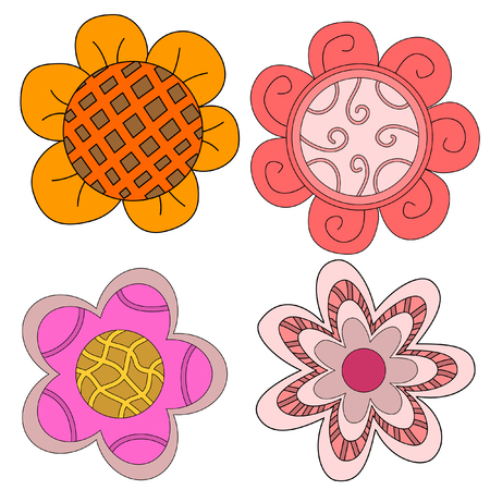 Cute whimsical flower collection over white background Çizim