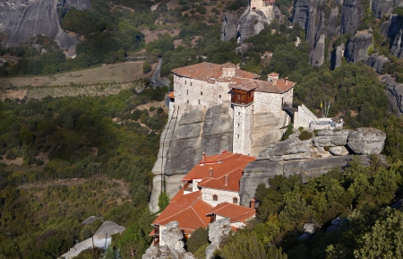 thessalia: Hanging monastery at Meteora in Greece Stock Photo