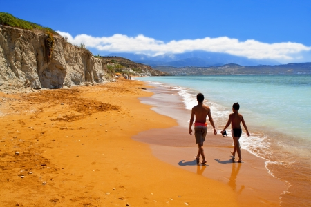 kefalinia: Sandy red beach at Kefalonia island in Greece Stock Photo
