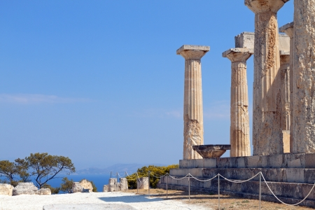 Ancient temple of Aphaea Athina at Aegina in Greece  photo