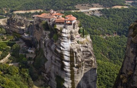 thessaly: Hanging monastery at Meteora in Greece Stock Photo