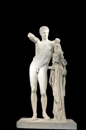 desnudo masculino: Hermes y Dionisio, antigua estatua griega clásica de Hermes de Praxíteles Museo de la antigua Olimpia, Grecia