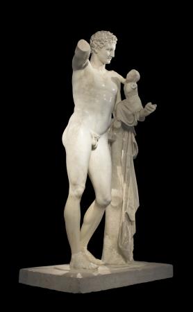 desnudo masculino: Hermes y Dionisio, antigua estatua griega cl�sica de Hermes de Prax�teles Museo de la antigua Olimpia, Grecia