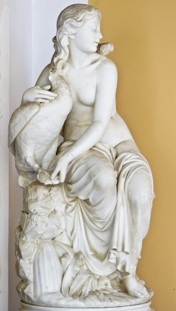 venus: Aphrodite with a goose, Achilleion palace at Corfu island in Greece Stock Photo
